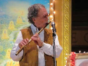 Paul Horn playing flute at Transcendental Meditation event