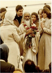 Maharishi_Mahesh_Yogi_during_a_1979_visit_to_MUM - with his students of Transcendental Meditation