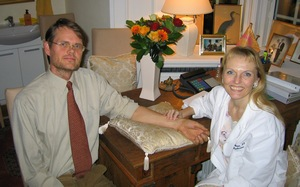 dr charlotte bech reading pulse at her clinic - ayurveda, meditation and medicine - interview